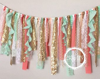 Coral, Mint & Gold sequin curly fabric garland banner - photo prop, cake smash, backdrop, curtain valance