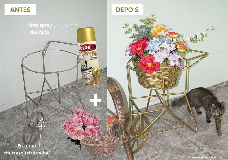 DIY: Transformando uma churrasqueira velha em uma floreira linda - Casinha Arrumada