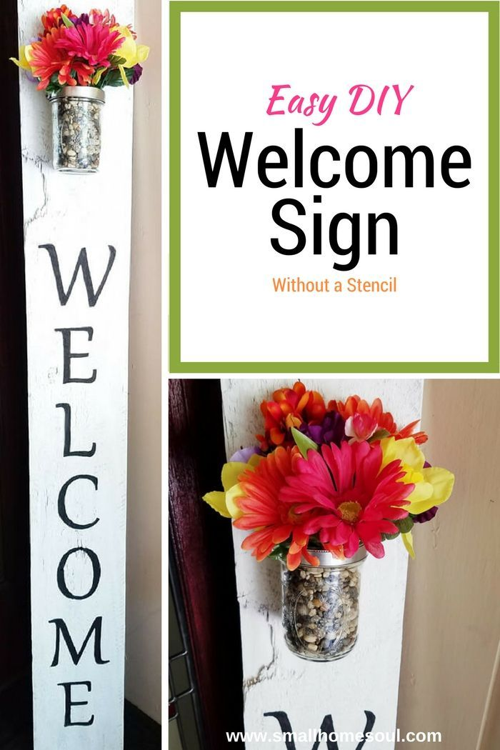 Make this easy DIY Welcome Sign to add a beautiful touch to your front porch. You don't need fancy equipment or stencils, just a printer and transfer paper.