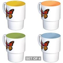 Sugar Skull Butterfly Stackable Mug Set (4)  by Dustpan Productions