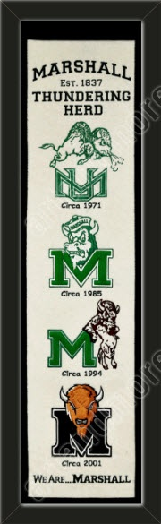 This Marshall University heritage banner framed to 8 x 32 inches.  $89.99 @ ArtandMore.com