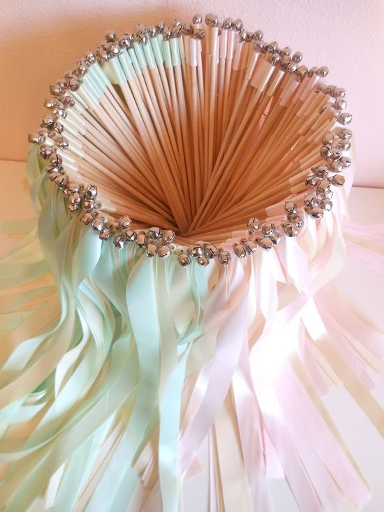 For the kids table: Wedding ribbon wands by BellaBrideCreations on Etsy,