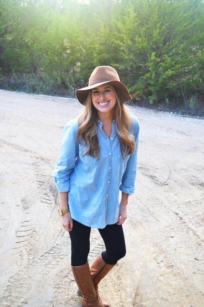 easy fall outfit - wool hat, denim button up, boots