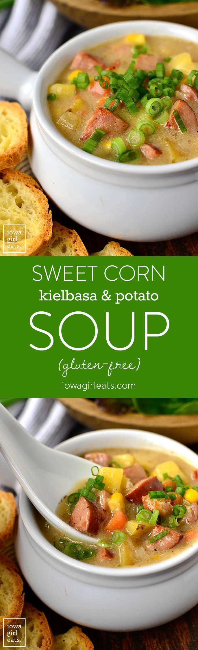 Sweet Corn, Kielbasa and Potato Soup is for the coldest of nights! This hearty and comforting, gluten-free soup recipe is filled with savory kielbasa, creamy potatoes, and snappy sweet corn. | iowagirleats.com #glutenfree