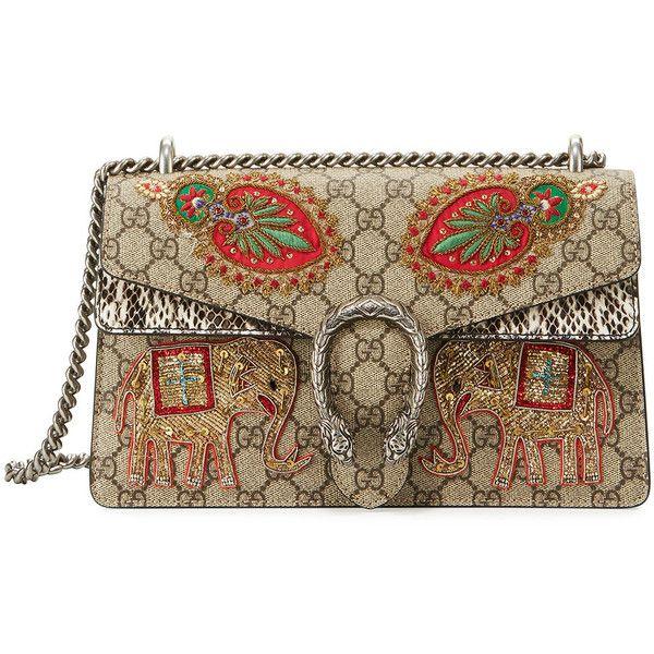 Gucci Embroidered GG Supreme Shoulder Bag ($3,900) ❤ liked on Polyvore featuring bags, handbags, shoulder bags, brown patterned, handbags satchels, brown satchel purse, gucci satchel, man bag, brown satchel and gucci shoulder bag