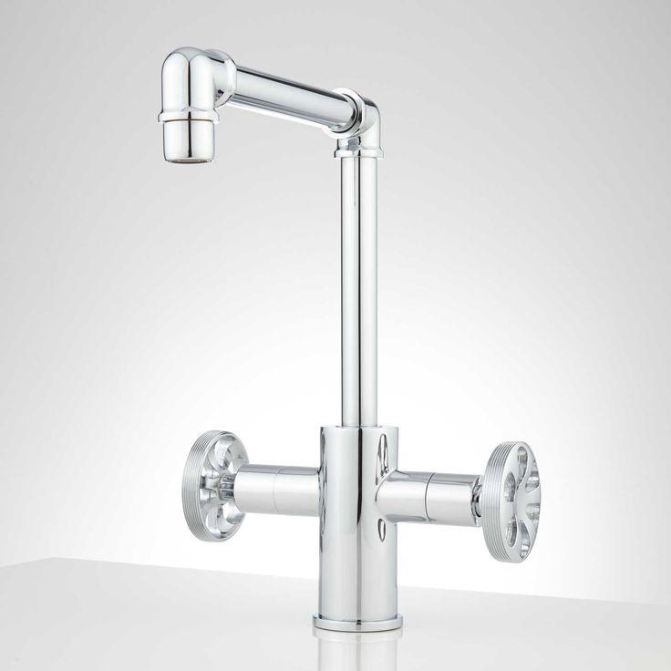 Edison Single Hole Dual Handle Brass Bathroom Faucet With Pop Up Drain