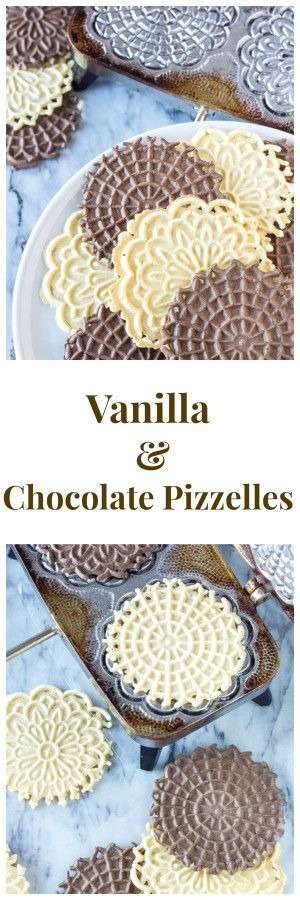 Vanilla and Chocolate Pizzelles   Delicious flat, round, Italian, waffle like cookies. A delicious and easy to make Christmas cookie!   www.reciperunner.com