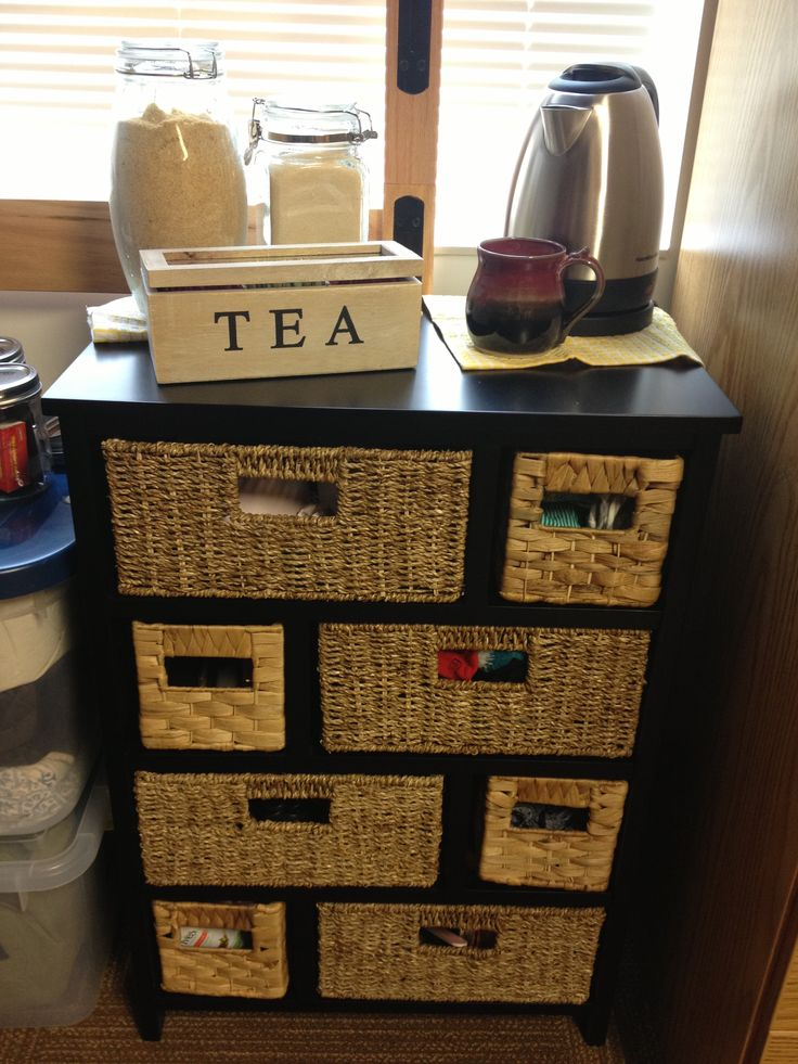 Tea Corner For The Dorm Room:) Cute Idea For Coffee Also. Great Place To  Store Snacks, Napkins, Paper Plates, Mugs. Part 50