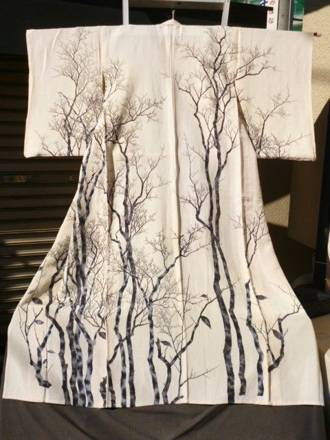 White Bare Tree Kimono! While not as colorful as the kimono I collect, this one has poetic loveliness