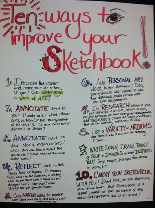 10 ways to improve your sketchbook @Kelly Teske Goldsworthy frazier Dercks