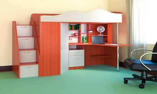 Кровать чердак Пионер  Кровать чердак Пионер - уникальная модель, которая непременно понравится своей комфортностью, оригинальностью и многофункциональностью всем членам семьи. Несмотря на обилие функциональных предметов, этот комплекс выглядит акуратно.       Кровать чердак Пионер включает в себя:   Компьютерный стол с множеством стеллажей разной величины   Тумба с ящиками для письменных принадлежностей   Небольшой, но глубокий шкафчик для одежды и обуви, стоящий под углом оснащён…