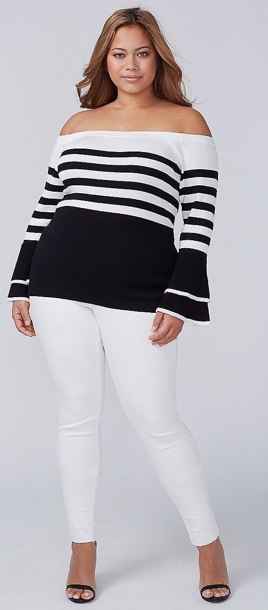Plus Size Ruffle-Sleeve Sweater - Plus Size Fashion for Women #plussize