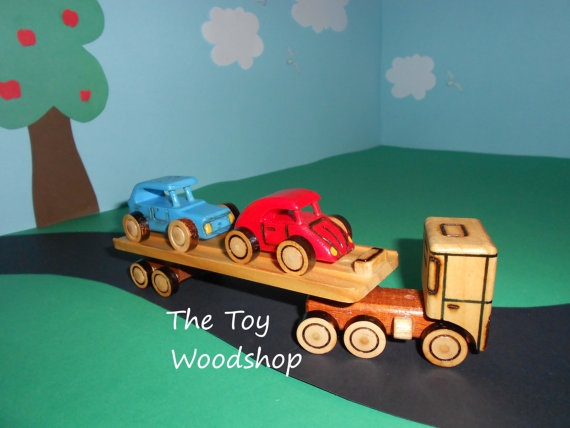 Car Carrying Mac Truck Mini by TheToyWoodshop on Etsy, $20.00