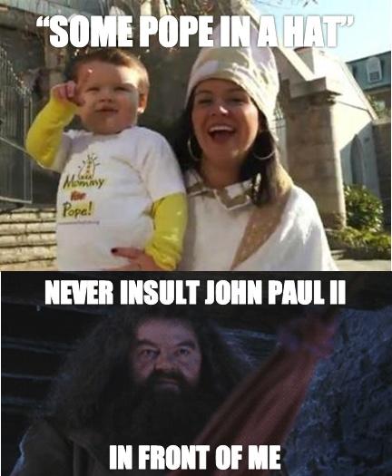 That's me. Only I tend to hear more criticism against Papa Benedict, and that's when I go full Hagrid. Then have to restrain myself, because that's not how Papa would want me to handle it.