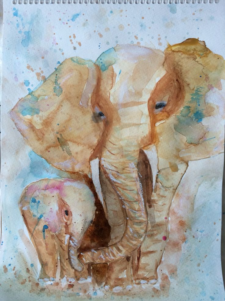 watercolour painting elephants