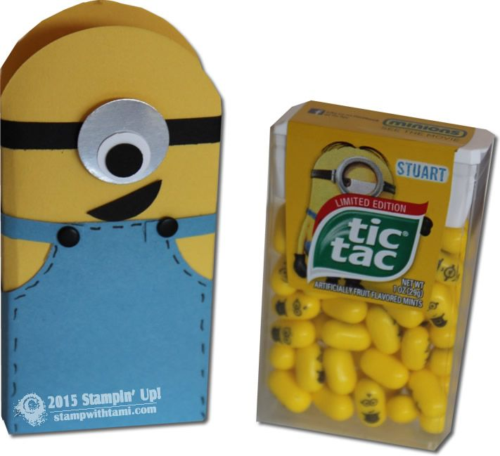 Today's video is the Stuart the Tic Tac Holder. Also featuring special Minion edition Tic Tacs (but you can use regular Tic Tacs as well). NOTE: I forgot to add his pocket!!! What is wrong with me, how could I forget that?? Sorry, his pocket is created with the Owl Punch and attached with a dimensional.VIDEO: Minion Mania Gift Set Part I – Tic Tac Treats