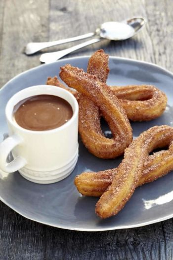 Churros and Hot Chocolate Dipping Sauce