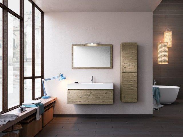 QUBO 100 composizione 14 con lavabo in marmoresina