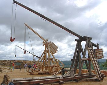 A Trebuchet was a powerful catapult that came into wide use in the 1100s. It was probably invented by the Moors but soon the Catholic forces were copying it as well. It would hurl a 350 pound weight with great force a significant distance. It was used against castles and it stayed in wide use even after the introduction of gun powder in 1300. It could be powered by a counterweight or be pulled by a group of men. Because of its power it replaced the onager which had been in use since Roman times.De Castelnaud, Castles, Romans Weapons, Medieval Warfare, Castle, Medieval Trebuchet, Counterweight Trebuchet, Siege Weapons, Awesome Stuff