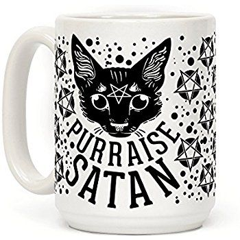 AmazonSmile: Purraise Satan 15 OZ Coffee Mug by LookHUMAN: Kitchen & Dining