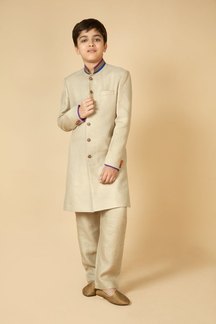 Twill sherwani with kasab embroidery on collar. Item number KB15-30