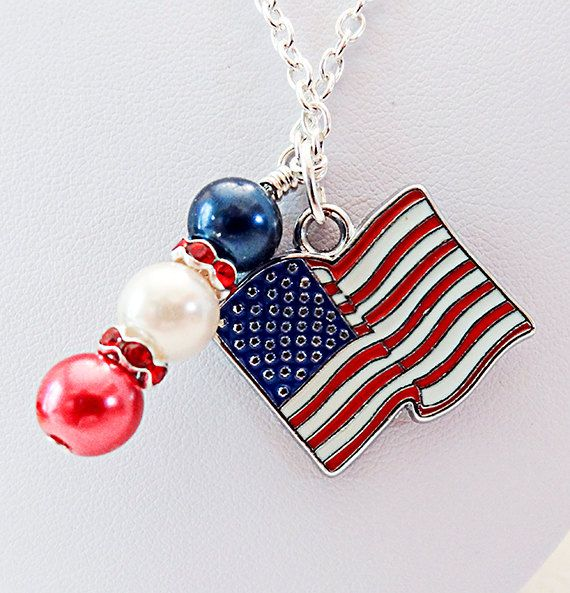 Holiday necklace Memorial Day Flag Day 4th by EarringsBraceletsEtc