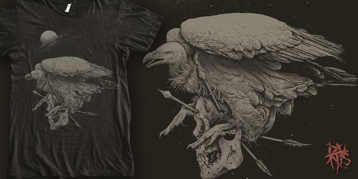 """Vulture Skull [ FOR SALE ]"" t-shirt design by RectopusArt"