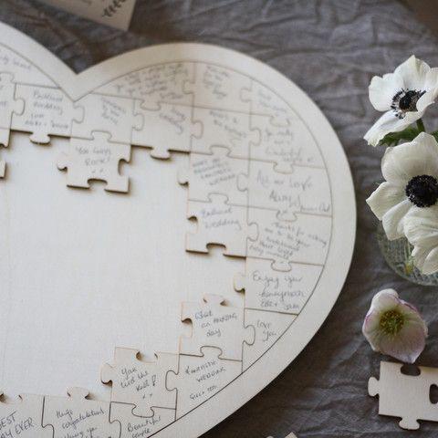 Wooden Heart Jigsaw Puzzle Wedding Guest Book