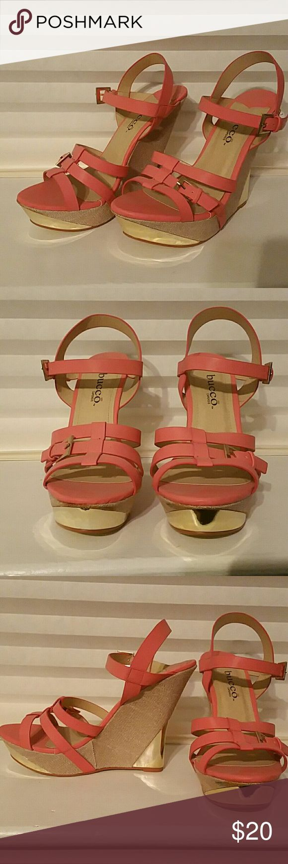 Coral wedges Coral wedges, gold accents on heels and front platform Shoes Wedges