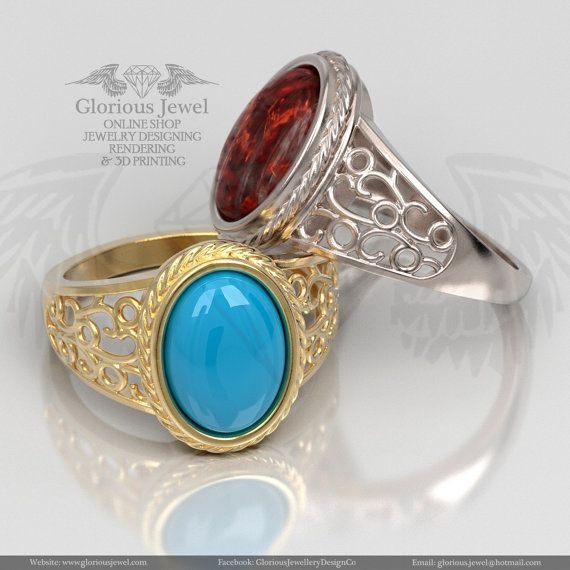 Glorious ring with Oval cabochon garnet turquoise or amber