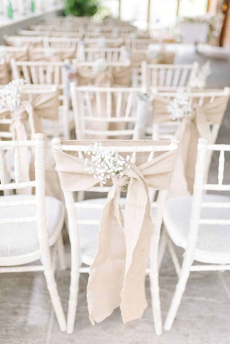 Hessian Gypsophila Chair Decor