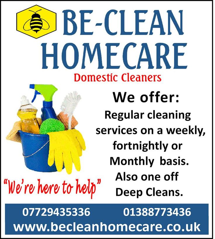 Be-Clean Homecare Advertisement.