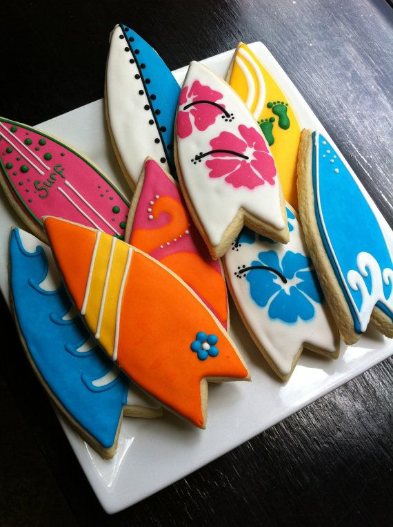 Surf Board luau beach decorated Cookies 1 Dozen $42.00 The Talented Cookie