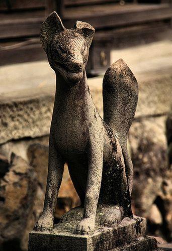 Japanese fox guardian statue