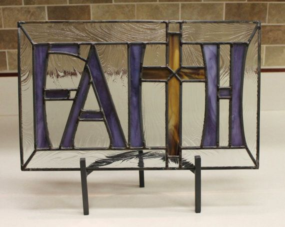 Stained Glass Panel  FAITH  with wrought iron by DGBCreations