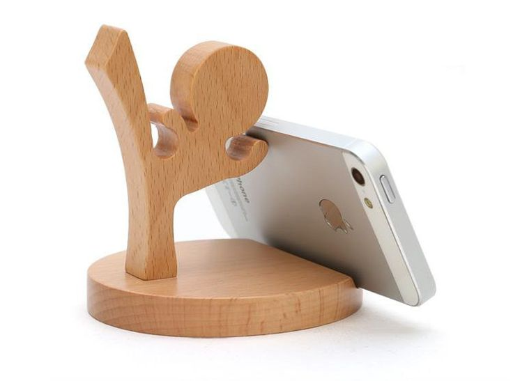 cute wood phone stand Brand new with box .