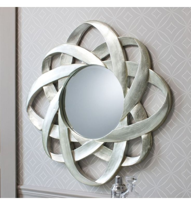 Constellation large silver round feature wall mirror 38 for Large silver modern mirror