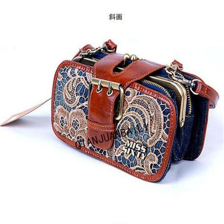 Woman Quality Vintage Lace Denim Messenger Bags New England Style Fashion Handbag
