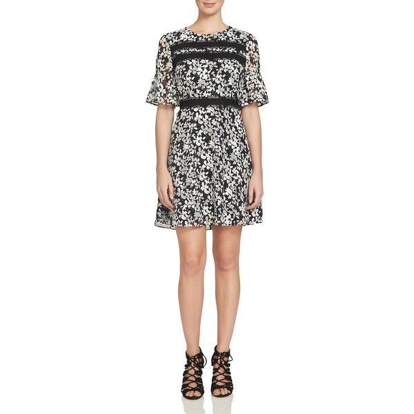 CeCe by Cynthia Steffe Bell Sleeve Floral Dress ($145) ❤ liked on Polyvore featuring dresses, rich black, graphic print dress, floral day dress, blossom dress, lacy dress and lace dress