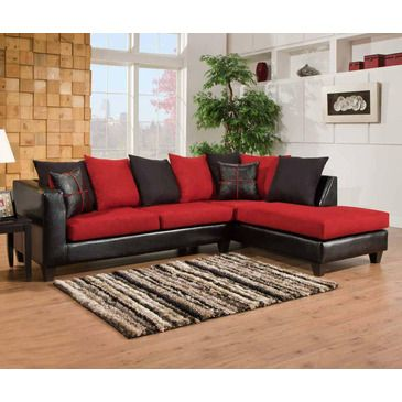 Chelsea Home Furniture Mu Sectional Jefferson BlackVictory Lane Cardinal Click Image For More Details