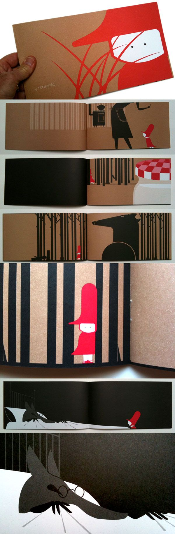 'Y Recuerda' by Juanjo G. Oller. Wordless, three-colour, gorgeously designed version of Little Red Riding Hood.