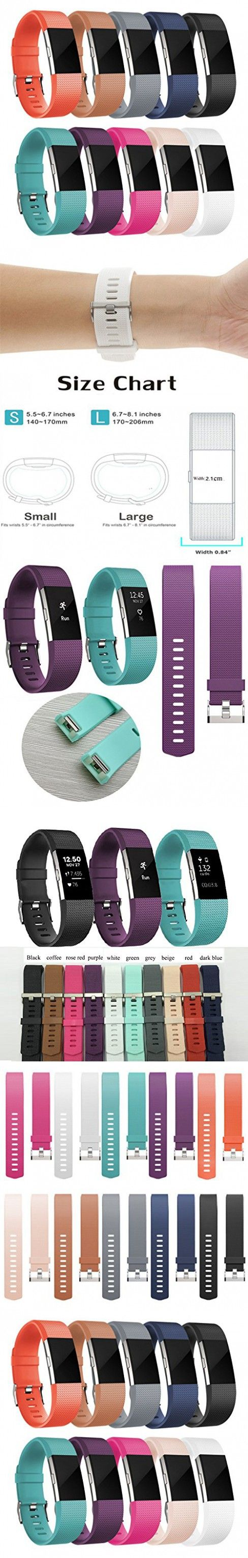 Band/strape for Fitbit Charge 2, Replacement Sport Fitness Accessory Band for Fitbit Charge 2, 10 different colors, + Free Screen Protector (10-colors, Small)