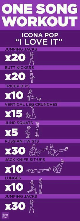 Get a killer workout in just one song: I Love It by Icona Pop Find more like this at gympins.com