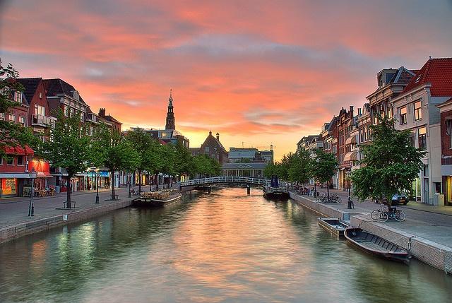 Oude Rijn Canal in Leiden, NL