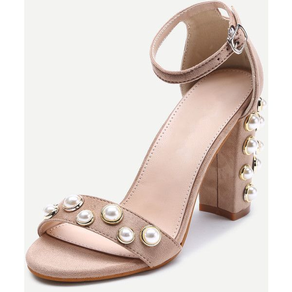 SheIn(sheinside) Faux Pearl Decorated Two Part Block Heel Sandals ($36) ❤ liked on Polyvore featuring shoes, sandals, jewel embellished sandals, embellished heeled sandals, chunky heel sandals, ankle tie sandals and block heel sandals