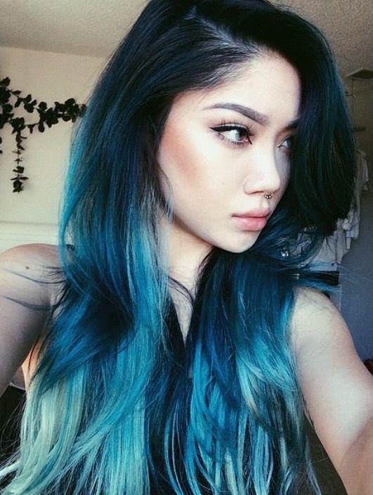 Blue hair ombré with balayage