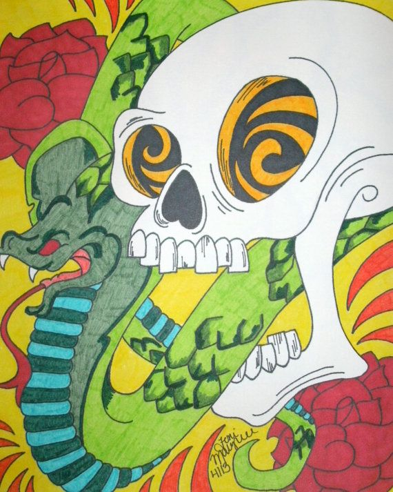 Skull and Snake Drawing, 8x10 Marker and Sharpie Drawing, Skull Art, Alternative Drawing, Cobra Snake, Macabre and Horror, Original Colorful