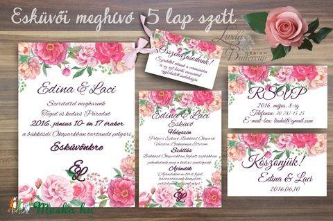 Esküvői meghívó, Virágos Amerikai stílusú, nyári Orgona Esküvő Képeslap, rózsa, rózsaszín meghívó, Esküvő, Naptár, képeslap, album, Meghívó, ültetőkártya, köszönőajándék, Képeslap, levélpapír, Meska