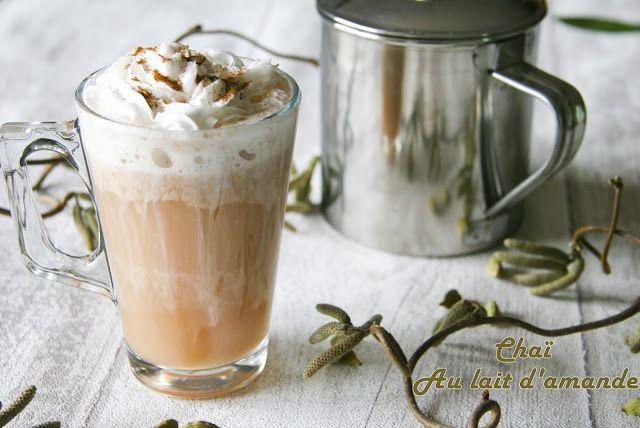 Chaï au lait d'amande  Une recette réconfortante.  Sans lactose, végétalien (almond milk, lactose free)