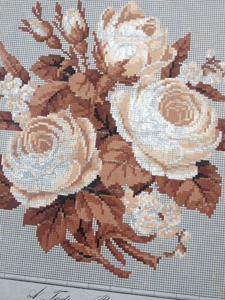 Antique Berlin Woolwork Pattern - Monochrome Rose